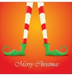 merry christmas card with cartoon elfs legs vector image