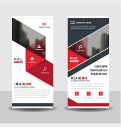 Red black triangle business roll up banner flat vector