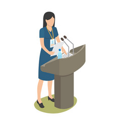 report of young woman on business conference vector image