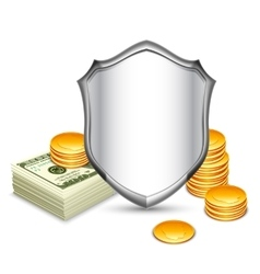 Security shield protecting money vector