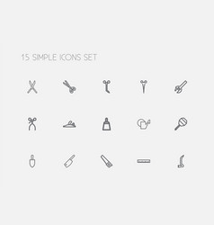 Set of 15 editable tools outline icons includes vector