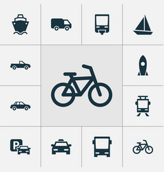 Shipment icons set collection of yacht streetcar vector