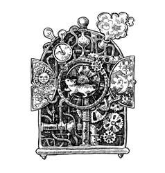 steampunk time machine vector image