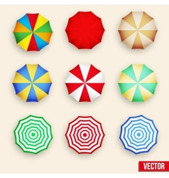 Symbol set of a parasol top view vector