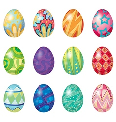 Twelve easter eggs vector image vector image