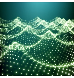 Water surface wavy grid 3d network design vector