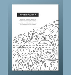 Water tourism - line design brochure poster vector