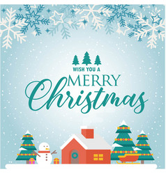 Wish you a merry christmas home snowflake blue bac vector