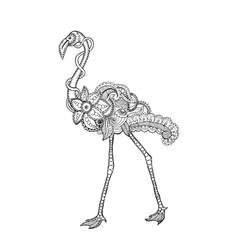 Zentangle stylized flamingo vector image
