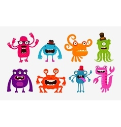 Cartoon monsters or bogeyman set vector