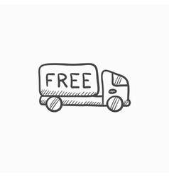 Free delivery truck sketch icon vector image
