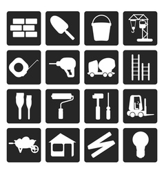 Black construction and building icon set vector