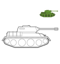 Military Tank coloring book Fighting technique in vector image