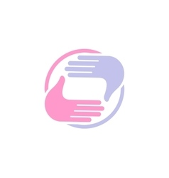 Isolated abstract blue and pink color human hands vector
