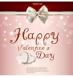 Valentines day background with bow and hearts vector