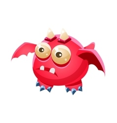 Pink fantastic friendly pet dragon with two horns vector