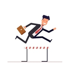 Businessman or manager runs on obstacle course vector