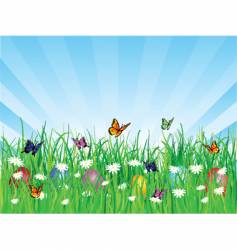 Easter eggs and butterflies vector image