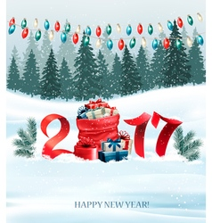 New Year background with a 2017 and sack with vector image
