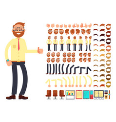 Young male businessman character with gestures set vector