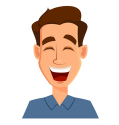 Face expression of a man - laughing male emotions vector