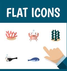 Flat icon sea set of fish cachalot alga and vector