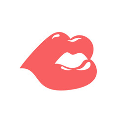 lips isolated pink kiss on white background vector image