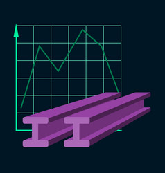 Flat icon on stylish background falling graph vector
