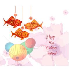 Mid autumn festival with carp lantern background vector