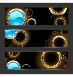 Banner with golden rings vector image