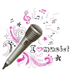 Music doodle microphone vector