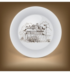 Decorative plate with image of farmhouse vector