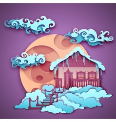 Origamy house with moon on night sky vector