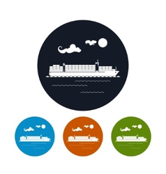 Cargo container ship icon vector