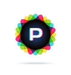 Retro bright colors logotype letter p vector