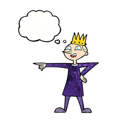 Cartoon pointing prince with thought bubble vector