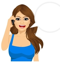 Angry woman talking on mobile phone vector