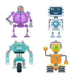 Robot flat icons set vector