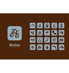 Set of water simple icons vector
