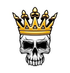 King skull in royal gold crown vector