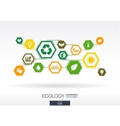 Ecology hexagon abstract background vector
