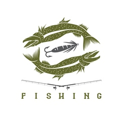 Design template of vintage fishing emblem vector