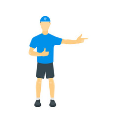 A guy in a t-shirt shorts vector