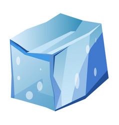 Blue transparent uneven ice glacier piece isolated vector