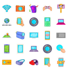 Capture memories icons set cartoon style vector