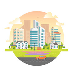 Cityscape with skyscrapers in a round frame - vector