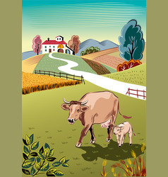 Cow with her calf vector