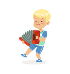 cute little boy playing accordion young musician vector image