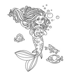 Cute little mermaid girl holds a pet fish outlined vector