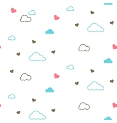 Cute seamless pattern with clouds and hearts vector image vector image